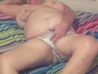 An old bbw gf, nice & tight & juicy.,her satin panties are WET, an excellent piece of ass, she loves it when you cum in her, the deeper the better! And she LOVES having those nipples sucked & chewed on when you fuck her ! Who\'d like some ?