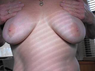 Boyfriend loves it when I play with my tits and tease him. So what do you think of the girls?