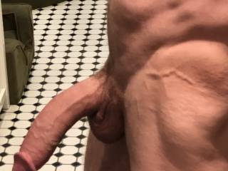 Thinking of cock and cum makes my big cock hard