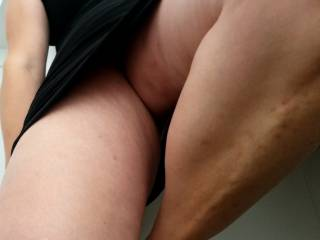 Between the legs of my mistress just before a good session of anal sex