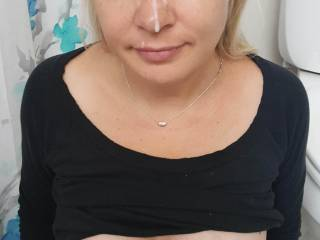 Facial with tits out hiding in bathroom to get a minute with each other..lol