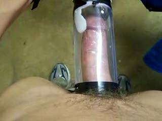 i like to see your cock growing in the pump!