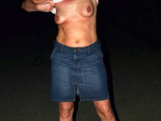 I love girls in denim shorts showing their tits...they and her top come off promptly at home, right?  They would for me...