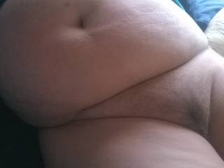 A big wobbly BBW belly and phat hairy pussy for cum splattering. Would you?