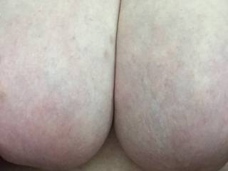 Just the wife's massive jugs, she loves having them played with and cummed on