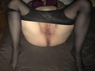 My married slut spreading her pussy.