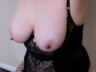My tits in black teddy and fishnets