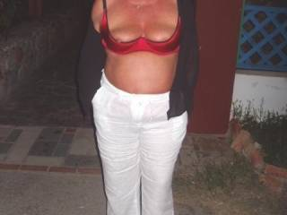 delightful pic :0 would be a pleasure to play with you guys outside and cum all over those lovely tits - that is a very nice idea :)