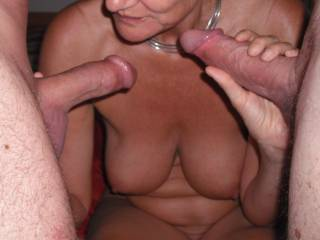 Two lovely cocks to choose from.  My hubby\'s and our swinger friend\'s.  Choices, choices, which one shall I suck first?