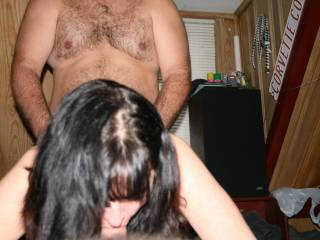 wife sucking my cock while friend fucks her from behind