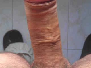 My stiff shaved cock viewed from above...