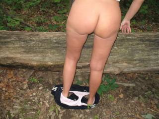 she took her top off and pulled her pants down right there on a trail in the woods and is ready to bend over the tree there and take my cock! she loves to get fucked and suck cock in the woods and especially where she might be seen. who wants to join?