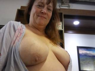 Something is missing... A hard thick cock? Hot cum?? I love it when my tits are loved!
