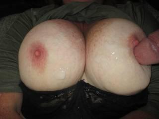 Cum shot on big tits