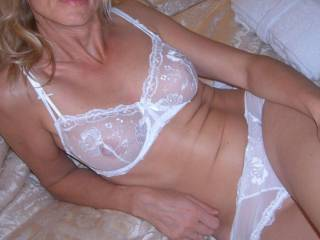 my wife in white lingerie , again 2