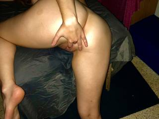 more of this one getting on the massage table after squirting and ready for anything I'm going to do. When you get a girl so turned on she has to touch herself in anticipation you're doing things right!  This is what I am used to.......women playing to me