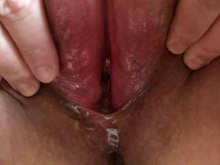 """My wonderful friend, just after luring her boyfriend to spunk into her, inviting me to squelch and cum up her ginormous birth canal.  She was """"rewarded"""" by a male in a delirious stupor collapsed over her after feeling my cum squirting into her soft belly."""