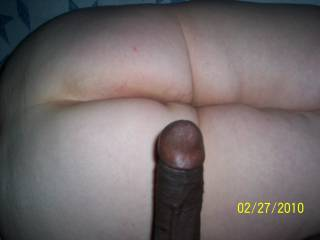 my big thick black cock laying on her fat ass before i fuck!