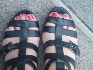 her sexy feet in new shoes. what do you think?