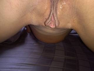OMG i would so enjoy burying my wet warm tongue DEEP in your ass and suck your clit off until you cum sexy lady.  Hot photo!