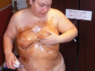 mmmmm me rubbing cream and chocolate cake onto my tits mmmm it felt soooo soft :)