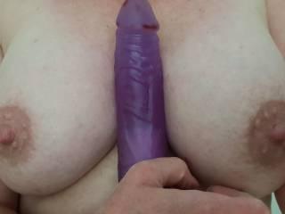 "My 8"" vibe, love things like this between my boobs hehe"