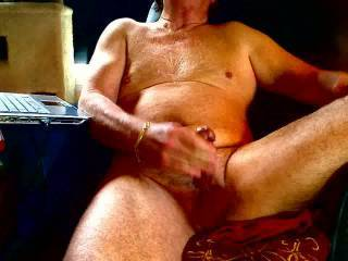 Quiet Sunday am, nice relaxed masturbation even though had excellent sex the prior evening.  Having been drained earlier, the cum was a smaller quantity and more liquid than a full day\'s load up.  I\'ve got to convince the mrs to get on cam and do this.
