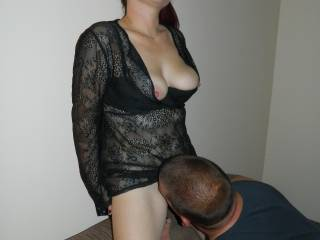 Such a hot sight to see her standing pretty while her new friend is going down on her and eating her clit and enjoying the taste of her vagina juices as they flow out of her. I'm sure he would love to come back for more and she should be more than willing to give him her best. She gave herself to him really well.