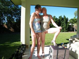 hubby and i having fun outside