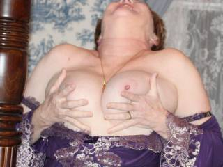 I love her big tits too, sucking on those beauties would be amazing, it would get me so excited too.