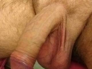 Just taking pics of my cock with heavy hanging balls, need voluteers to empty them for me.