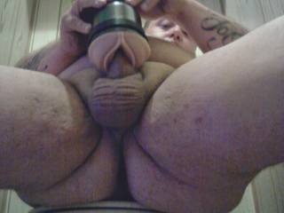 I was home alone and horny as fuck so i broke out the fleshlight and made a video and took pix of me pumping my hard little cock in it...