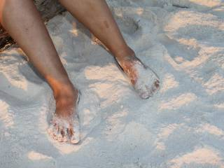 My feet in the pretty white beach sand while on our 2009 summer vacation!