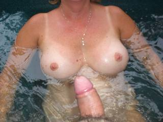 Getting ready to fuck the wife in the hot tub.