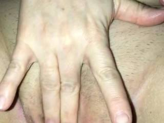 my sexy girl flicking her bean while i cum on her pussy