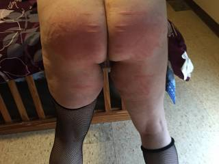 Got her first real spanking. When she was done I rubbed her G spot with three fingers until cum was running down her legs.