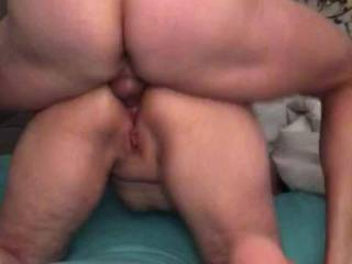 Anal creampie on the bed