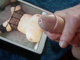 Wanking and cumming on this sexy milf