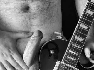 Moody cock shot with guitar Xx