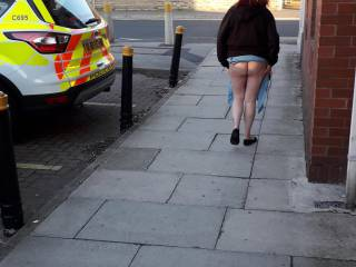 Feeling a little naughty so flashed my bum at hubby as we passed a police car ...oops!