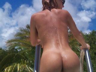 What an amazing ass. Makes my tongue so hard. I would love to be licking and kissing your ass. Of course I see something else peeking out that wold have to have some good licking too but I will get to that in my own seet time