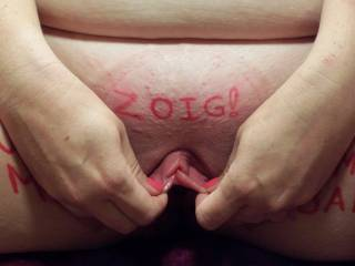 Just a GENUINE pic of my Wifey stretching out her pumped pussy lips for all of our Zoig friends to see! So what is the verdict, should we keep posting or have you had enough???  ;