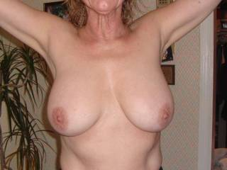 A nice pair of tits, I can almost feel their warm smooth texture from here.  Could I lick your nipples and then blow on them?  It would get me excited to get  you excited.