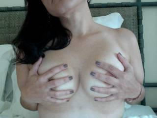 we love em smaller,anything more than a mouthful is a waste!,so be proud of those sexy titties!cum on down and let us suck on that pussy and those tits!