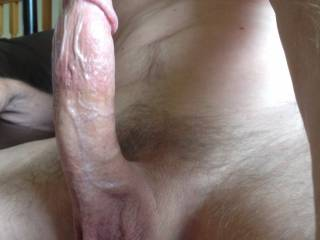 I'd licking that cock from the top all the way to your balls in no time !!
