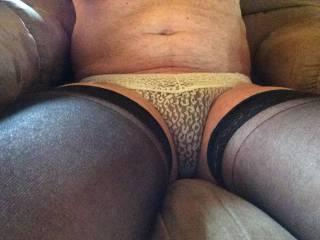 Very nice stockings and panties. Looking good. Thanks.