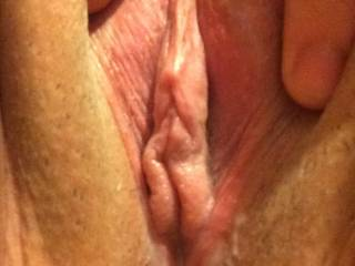 Me spreading that puss for a black cock