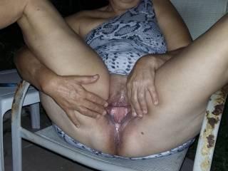 Rosemary spreading her soaking wet pussy lips