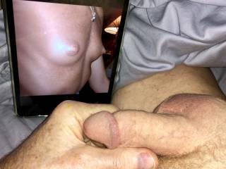 Love seeing a rare closeup of BlondJulie's titties. Masturbating while fantasizing sucking her slutty nipples.