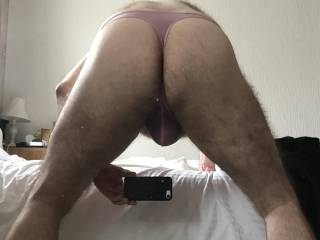 Tucked him away in pink thong for Easter shopping trip Decided to show rear view and test mirror shot! Bent over! May enter this months competitions! What do you think??